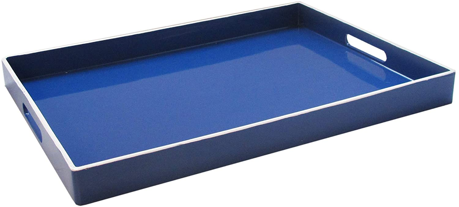Trina Turk 1270691 Rectangle Serving Tray Indoor Outdoor Platter For Home Entertaining Cocktail Hour Snacks Decorative Display For Jewelry Candles Barware Perfume 14 X19 Blue White All Marine Wholesale