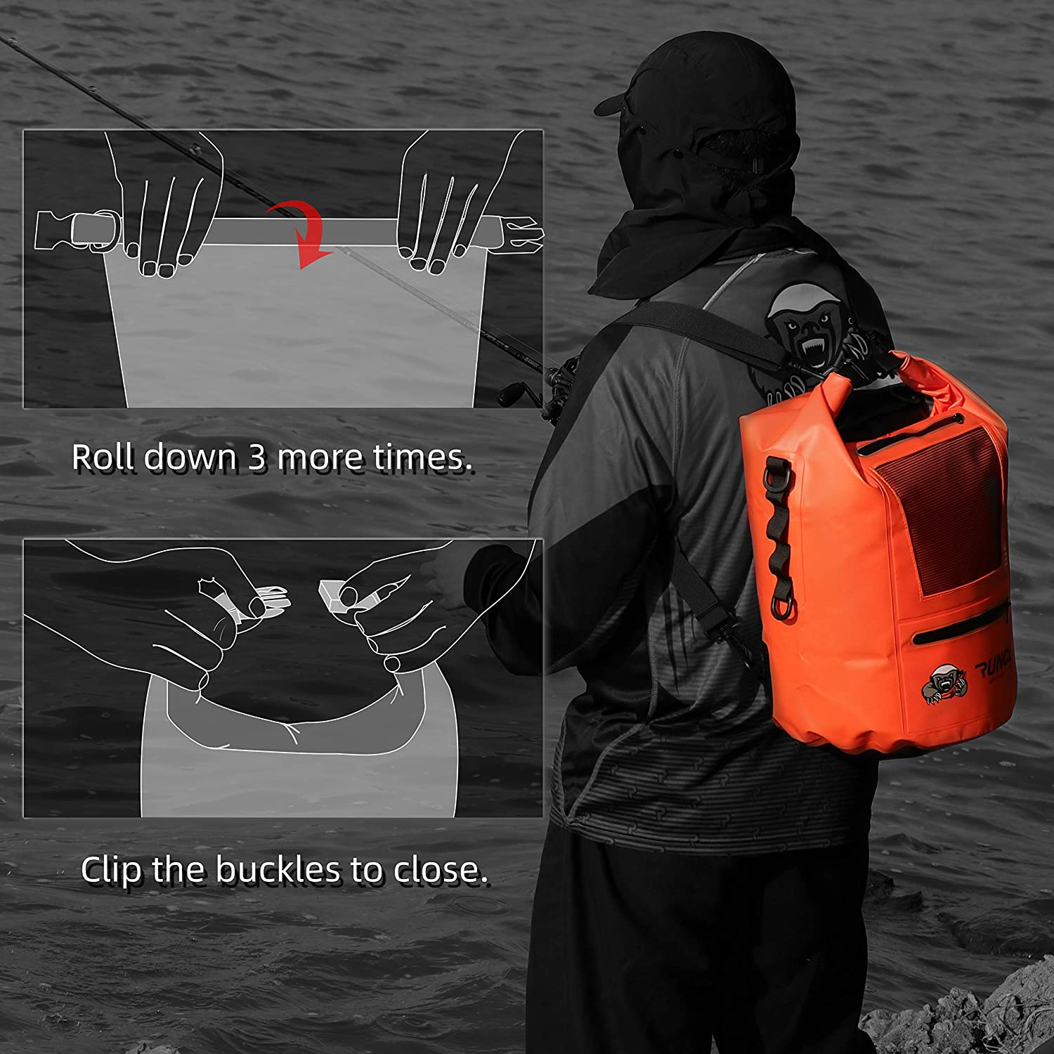 Dry Compression Sack 10//20//30//40L Reinforced Construction MOLLE System RUNCL Waterproof Dry Bag ANCOHUMA Kayaking Camping Fishing RV Surfing Rafting Dry Backpack with Waterproof Phone Case
